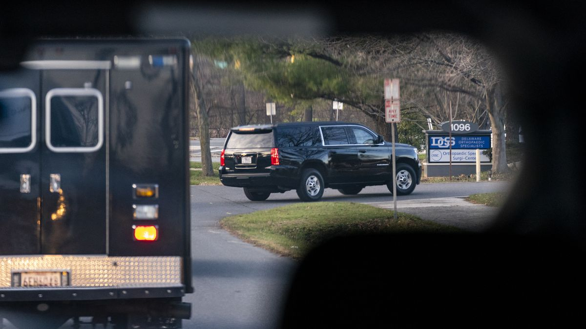 A motorcade with President-elect Joe Biden aboard arrives at Delaware Orthopaedic Specialists...