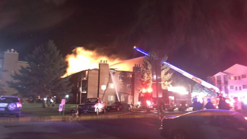 Crews battle overnight fire in north Fargo. Photo: Lisa Ollestad/Burst
