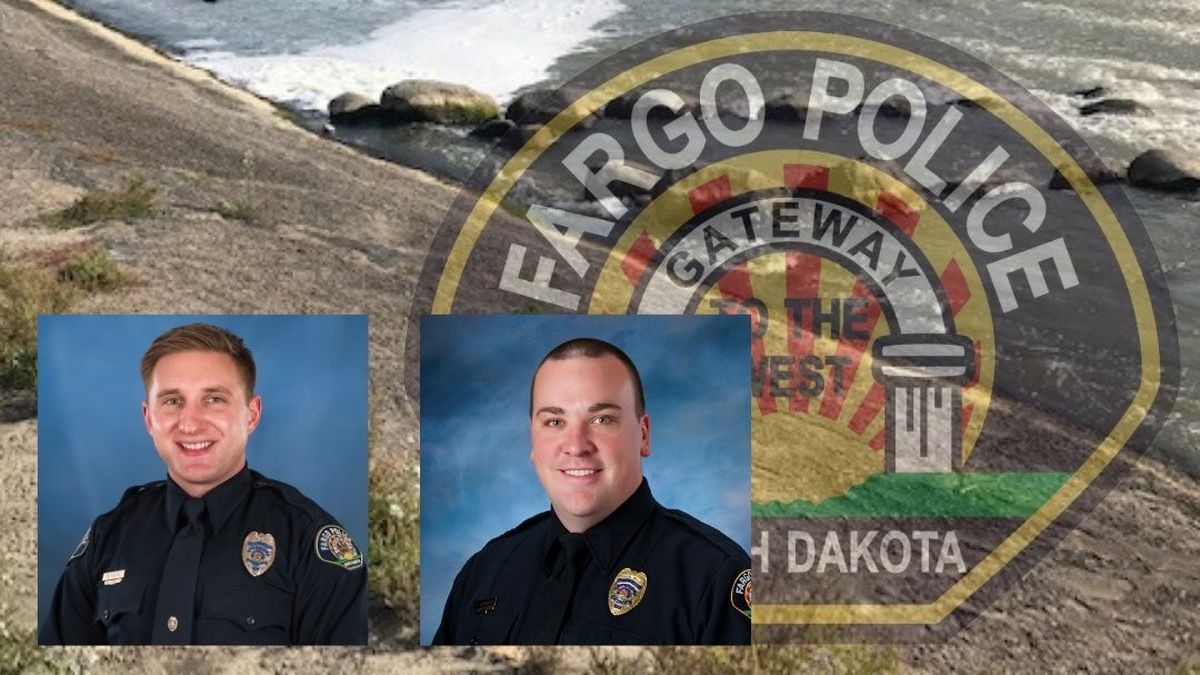 When officers Brady Holte and Scott Normandin arrived on scene and got closer to the adult female, they noticed she was already neck deep in the Red River. Both officers pulled her out safely.