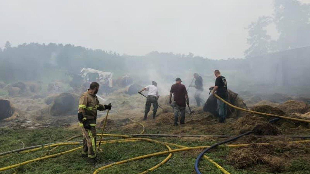 Hay fire at a farm near Akeley, MN
