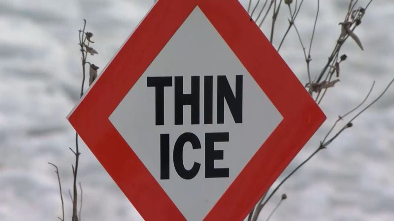 File photo of 'thin ice' sign.