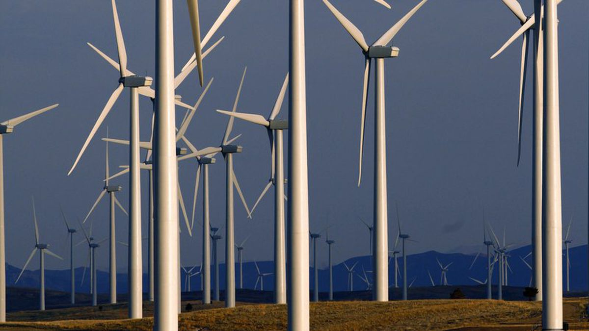 FILE - This May 6, 2013 file photo shows a wind turbine farm owned by PacifiCorp near...