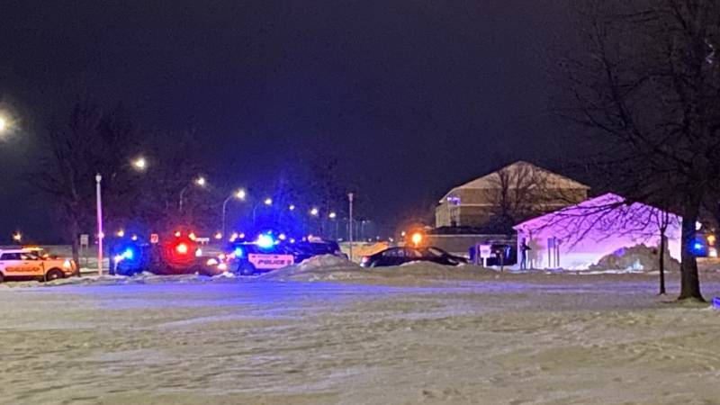 Police surrounded this apartment building in the 3300 block of 20th St. S. of Moorhead for a...
