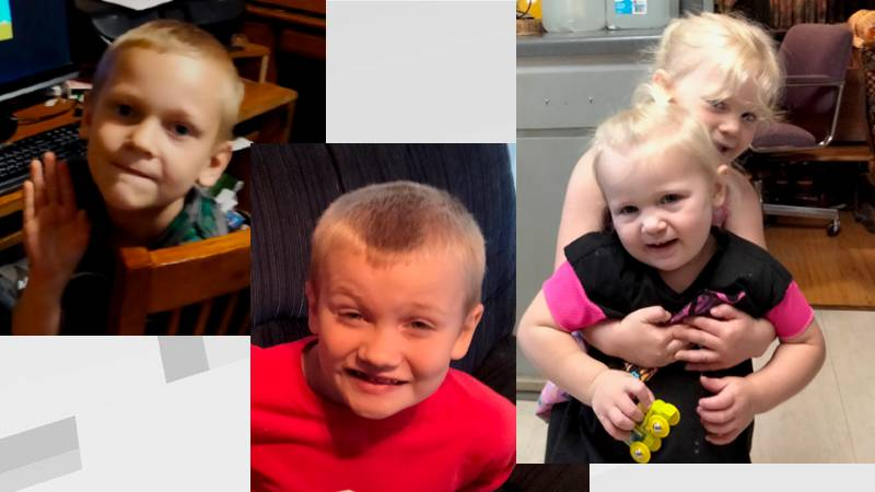 Police are searching for Landon and Carter (left and center) Briella (back right) Delilah...
