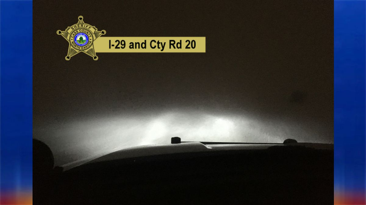 The Cass County Sheriff's Dept. tweeted this photo showing near zero visibility on I-29 and Co. Rd. 20.