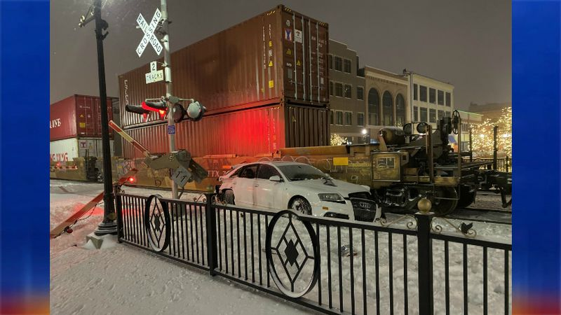 This was the scene after a train smashed into a car in downtown Fargo.