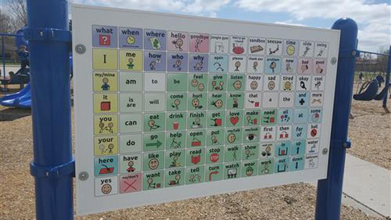 The new communication board presents a variety of pictures for nonverbal students to reference...