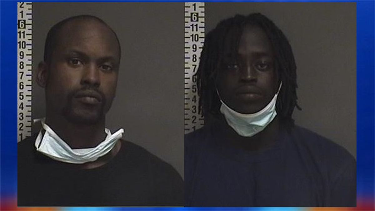 Darrell Simmons, 28, with no permanent address (L);  Reng Ayong, 21, of Fargo (R).