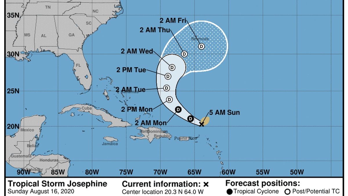 Forecasters say Tropical Storm Josephine weakened early Sunday and the system named Kyle became...