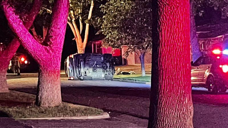 Oveturned vehicle in Edgewood neighborhood