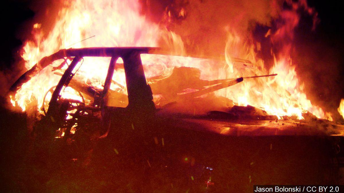 Generic photo of a vehicle fire | Cropped Photo: Jason Bolonski / CC BY 2.0