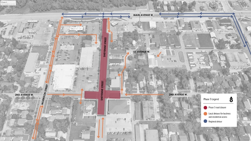 This phase will close Sheyenne Street from north of the Choice Bank access near 2nd Avenue West...