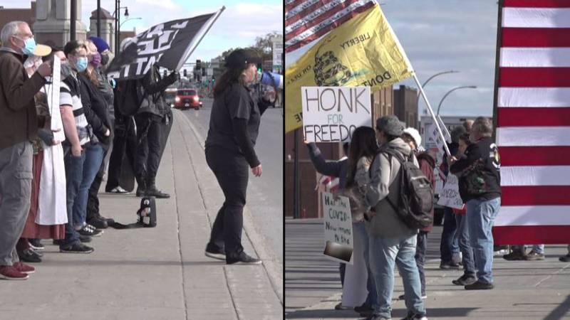 Two groups with opposing views expressed their beliefs and philosophies on the Veteran Memorial...