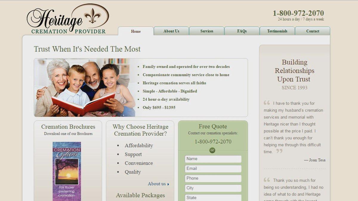 Heritage Cremation Provider Webpage