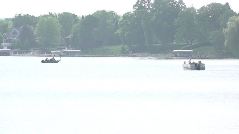 Boats are out on Lake Detroit in Detroit Lakes, MN.
