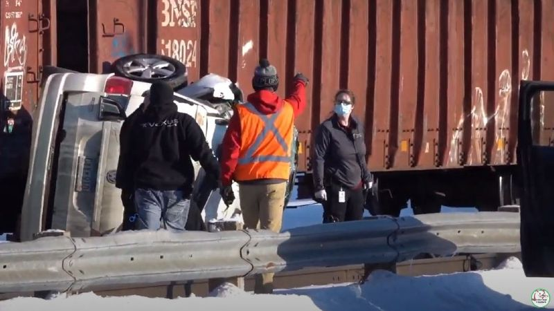 Authorities are responded to the scene of the car/train crash in Perham, MN.