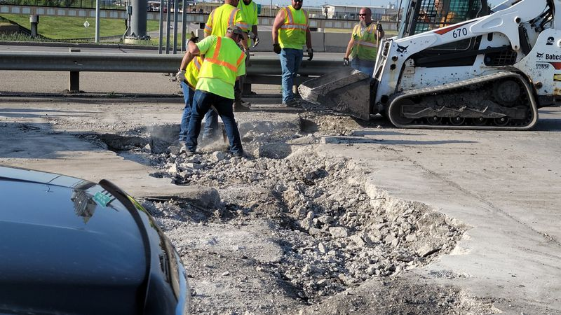 Traffic moving slowly after major Fargo roadway buckles due to heat.