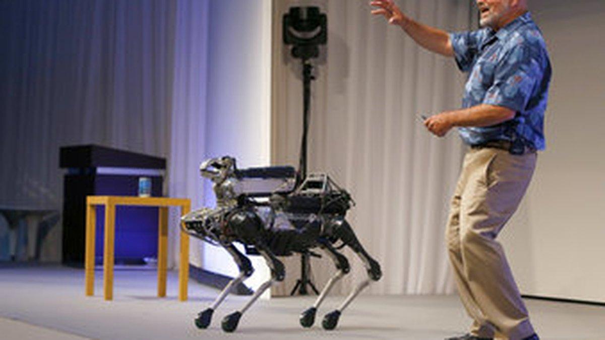 FILE - In this July 20, 2017 file photo, Boston Dynamics Chief Executive Marc Raibert speaks...