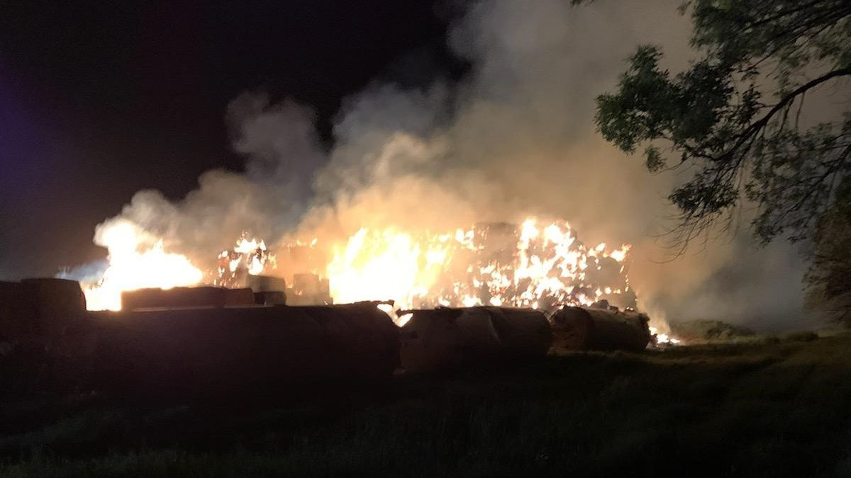 Hay bales on fire at the Masonite Plant north of Wahpeton, ND.