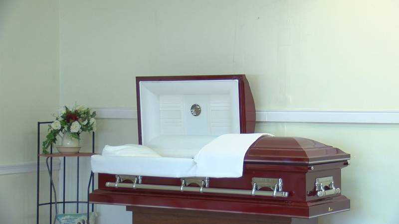 Casket inside The Promise Land funeral home