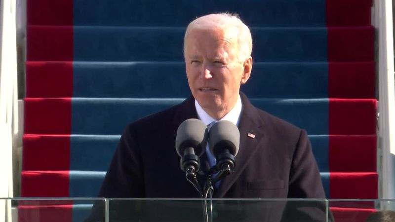 Joe Biden speaks after being sworn in as the 46th president.