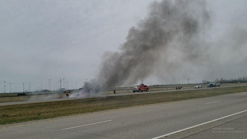 Vehicle fire on Interstate-29 north of Fargo on May 8, 2021.