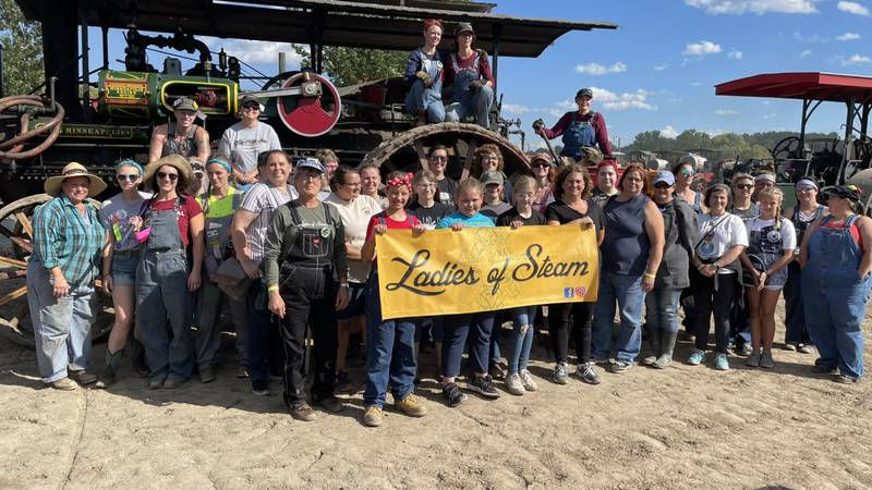 The Ladies of Steam held a presentation in Rollag, MN to showcase steam engines and old...
